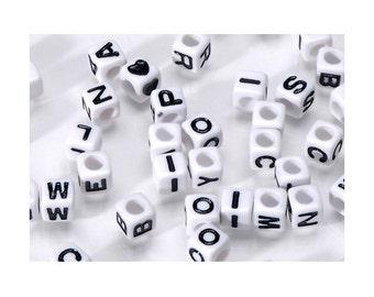 6mm White Cube/Black Letters Alphabet Beads, 160 beads