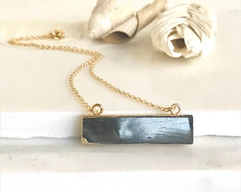 Simple Gold Bar Necklace. Labradorite Necklace. Everyday Gold Bar Necklace.  Gold Bar Necklace. Layering Necklace. Jewerly Gift for Her.