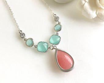Unique Jewel Pendant Necklace with Shades of Coral Pink and Aqua.  Unique Fashion Necklace.  Silver Jewel Necklace.Bridal Necklace.