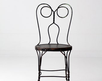 vintage ice cream parlor chair, black iron cafe chair, metal bistro chair