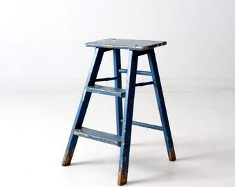 vintage blue step ladder, painted wood folding ladder