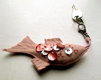 Pearl Pink Fish key fob