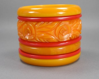 ON HOLD Bakelite Bangle Stack, Heavily Carved, Tangerine Orange, Cherry Red, Flowers, Vintage Bakelite Jewelry, Rockabilly Bangles