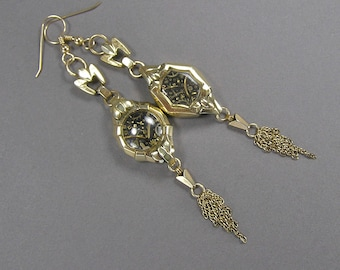 Watch Case Earrings, Steam Punk, Rolled Gold, Gold Fill, Elegant Geek, Hand Made, Boho, Little Universe, Vintage Watch Jewelry