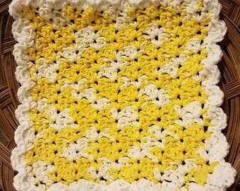 Cotton Dishcloth--Ready to Ship--Crochet Dishcloth--Yellow and White