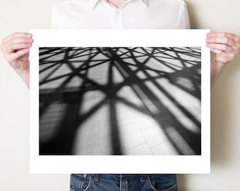 Modern architecture photography, monochrome London shadows fine art photographic print. Black and white monochromatic large format artwork