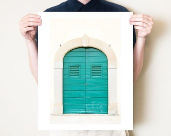 Door photography print, Tuscan decor. Tuscany fine art photograph, rustic teal door art. Small to oversized extra large prints 24x36 30x40