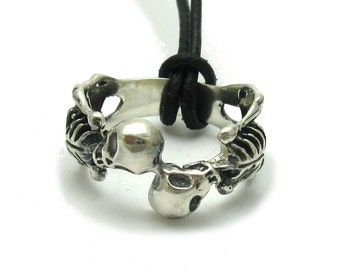 Sterling silver ring solid 925 skull skeleton biker pendant