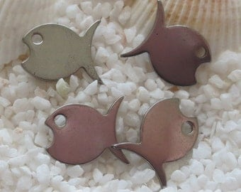Stainless Steel Small Fish Pendant/Drop - 8mm x 10mm - 4 pc