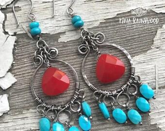 Sleeping Beauty turquoise boho dangle earrings