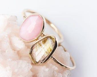 Rose cut gemstone & 14k gold ring, custom, cocktail ring, labradorite, rubellite pink tourmaline, garnet, rutilated quartz, pink opal, green