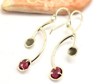 Long ruby earrings, sterling silver raw ruby earrings, Geometric earrings rough ruby stone, July birthstone, contemporary jewelry