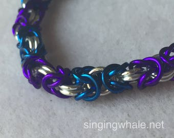 Blue, purple and silver Byzantine chainmaille bracelet