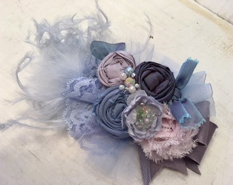 Periwinkle & Lilac floral rosette headband/ hairclip