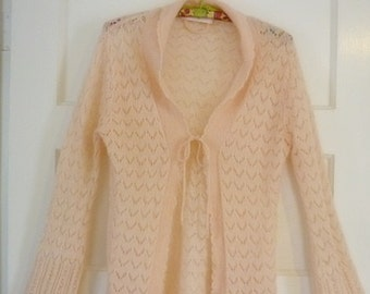 Victoria's Secret Peachy Pink lacy Tie front Sweater