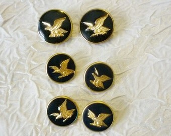 6 Eagle Enamel Brass Buttons-Vintage Eagle Buttons