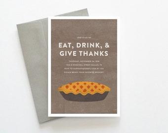 Thanksgiving Dinner Invitations, Thanksgiving Dessert Invitation, Retro Modern Pie Dessert Dinner Invitation PDF, Thanksgiving Printables