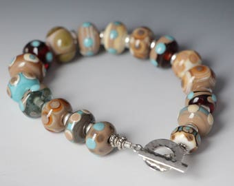 Earth Tone Nature Beaded Lampworking Bracelet Sterling Toggle Clasp