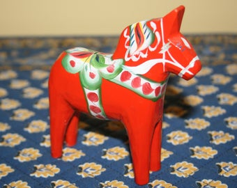 Vintage Nils Olsson Dala Dalecarlian Horse Red Original Sticker Sweden Hand Painted Hand Carved