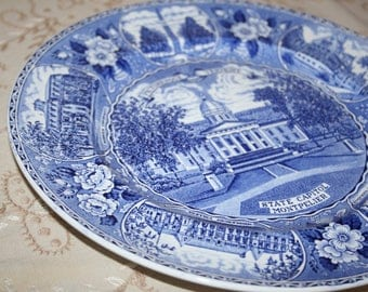 "Vintage Blue White Staffordshire Transferware Plate ""Picturesque Vermont State Capitol Montpelier"" Adams Potteries Souvenir Collector Plate"