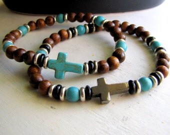 Couple's Bracelets Sets Turquoise Cross Wood Bracelet Pyrite Bracelet His and Hers Bracelet Set Gift for Couples Religious Cross Jewelry