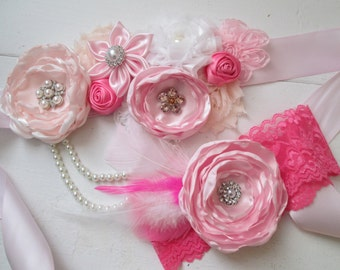 Pink & White Bridal Sash, Baby Headband, Mother's Day Gift, Blush Maternity Sash, Dusty Pink Wedding Sash Belt, Kanzashi Flower, Fabric Rose