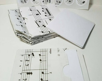 12 Mini Sheet Music Envelopes, White Flat Notes for that personal message, and coordinating sticker seals - Paper2Roses - handmade with love