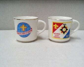 1977 Boy Scouts National Jamboree Souvenir Coffee Mugs Wonderful World of Scouting White Ceramic marked USA