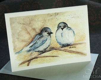 Greeting Post Card Blue Sparrows