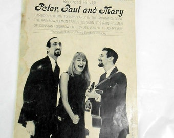 Vintage Peter Paul and Mary sheet music 1971 recorded hits of Peter, Paul and Mary song book Lemon Tree and other songs folk music 60s 70s