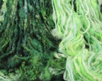 Handspun art yarn, wool from my sheep Berta, 6.6 oz, 84 yards