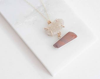 Mauve Willow Creek Jasper + Druzy Necklace | One of a Kind | Sterling Silver + 14k Gold Fill