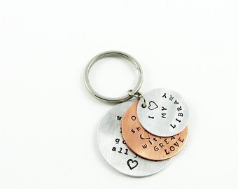 Personalized Keyring - Custom Layered Keychain with Name, Date, or Special Short Quote for Family, Mother, Father
