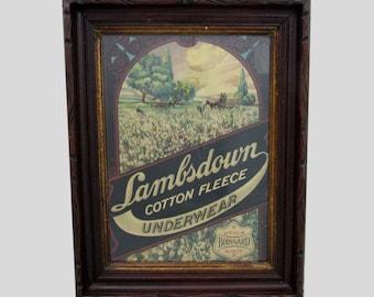 Lambsdown Underwear Framed Advertising  - 17x13 - 1940s