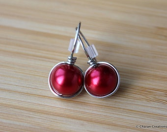 Red Pearl Wire Wrapped Earrings