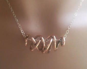 Copper Coil and Sterling Silver necklace