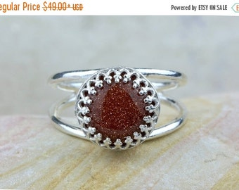 SUMMER SALE - Sterling silver goldstone ring,round stone ring,silver gemstone ring,delicate ring,vintage ring,orange r