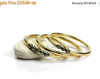 SUMMER SALE - Pyrite bracelets,gold bangles,bangle bracelet set,handmade bangles,gemstone bracelet,pyrite jewelry,gemstone bangle