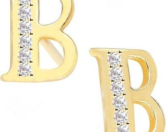 Personalized Earrings, Personalized Initial Earrings, Personalized Diamond Earrings, 14 K Gold Earrings, Diamond Earrings