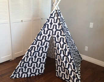 Blue, Navy and White Geometric, Striped, Stripe, Play Teepee, Tee Pee, Tent (poles included)