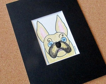 "French bulldog original watercolour ACEO in black mount ""Parlez-vous Frenchie?"" funny little dog ready to frame 4"" x 6"""