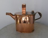 COPPER WATERING CAN Four (4) Pints 2 Handles Copper Pivets Great Patina Plant Water Can 20th Century Vintage English Garden Item Mid 1900's