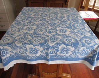 Vintage Tablecloth Cotton Sheeting Flowers in Blue White