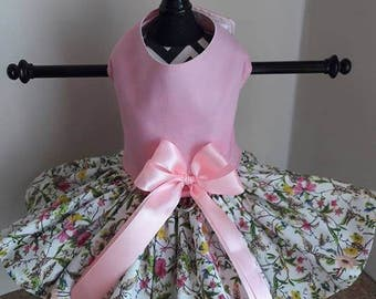 Dog Dress  Pink With Wild Flowers by Nina's Coture Closet