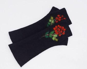 Long Felted Fingerless gloves Fingerless Mittens Arm warmers Gloves Black Rowans