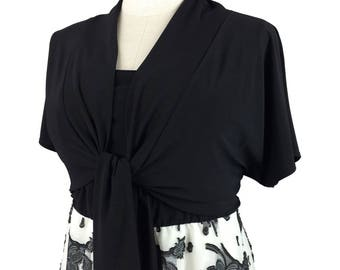 Black Plus Size Bolero / Cute bolero jacket w/ short kimono style and tie front / Trendy shrug / Plus size clothing xl - 1x - 2x - 3x - 4x