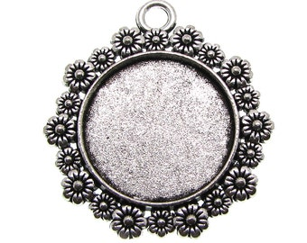 Bezels | Cabochon Settings : 10 Antique Silver Round Floral Pendant Setting Holds 20mm Cabochon -- Lead, Nickel & Cadmium Free 92631.H6E