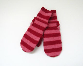Wool Mittens Fleece Lined Red and Pink Striped Felted Wool Sweater Mittens