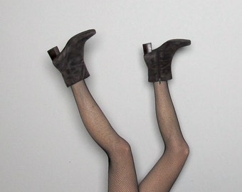 Brown SUEDE Leather Boots 90s Chunky HEEL Vintage Womens Size 7
