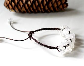 Cracked Glass Braided Leather Bracelet, Ice Bracelet, Friendship Bracelet, Boho, Stackable